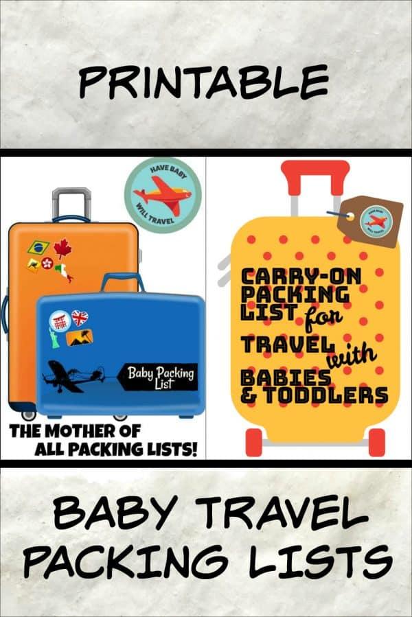 baby travel packing list, baby travel packing lists, baby travel checklist