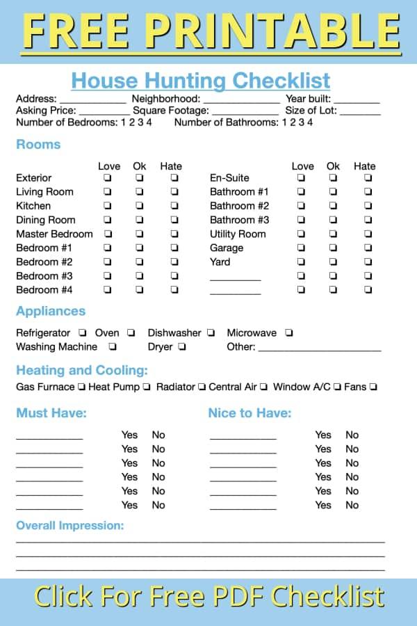 free pdf house hunting checklist