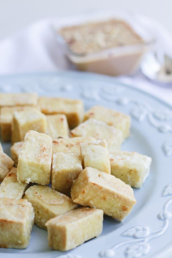 Pressure Cooker Tofu on a china plate