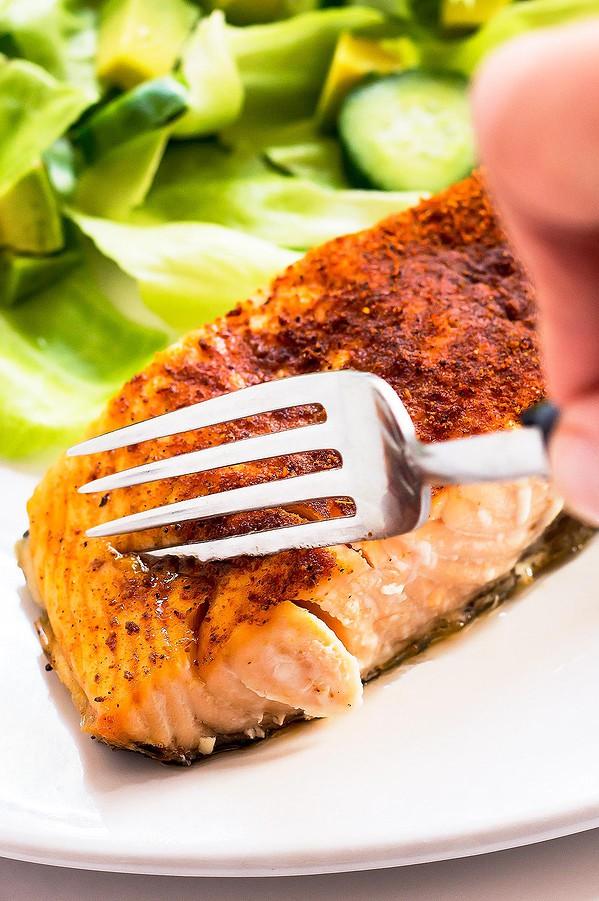 Air Fryer Salmon on Plate