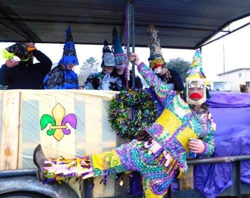 Revelers at the courir du mardi gras in eunice, louisiana.