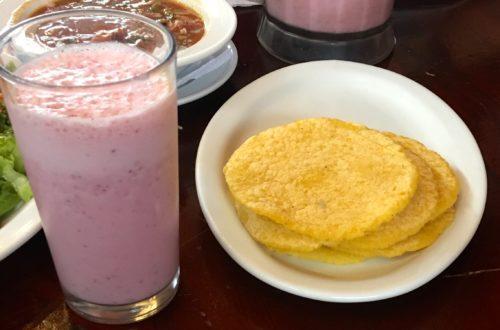 Tortillas and a batido make a nice snack