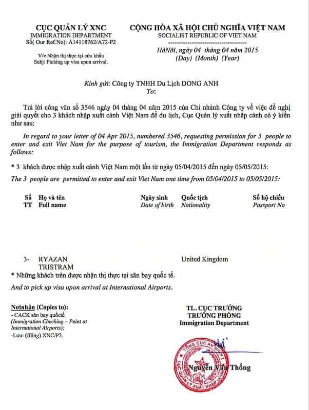 vietnam visa approval letter