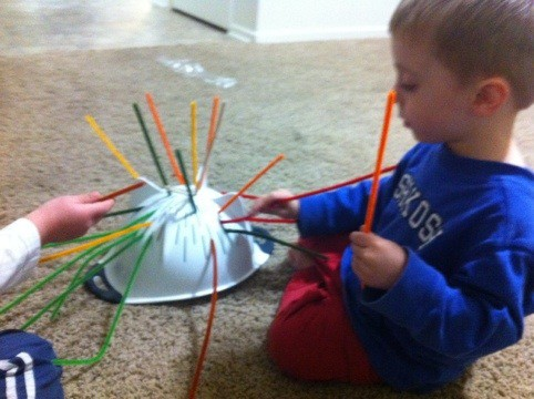 Fine Motor Skills, a Strainer, Chenille Stems and a big brother to teach.