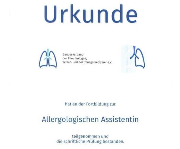 Urkunde allergologische Assistentin
