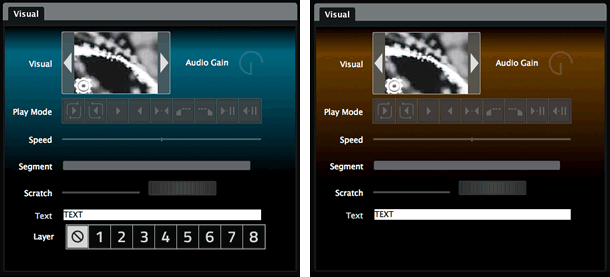 Apart from XL extras, GrandVJ's UI is easier to read and use, with features like color coding. Image courtesy ArKaos.