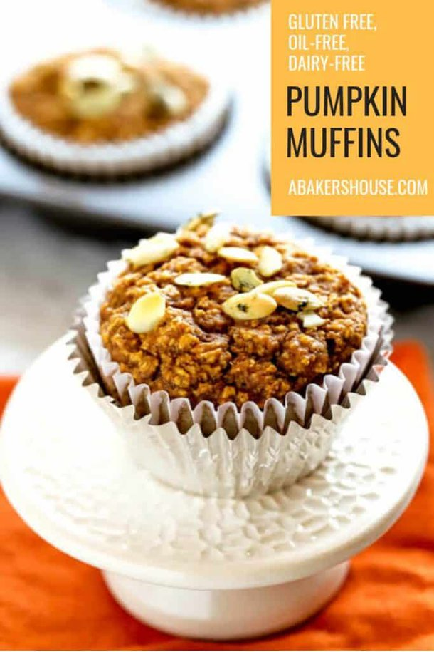 Photo for Pinterest of healthy pumpkin muffins