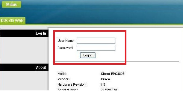 cisco cable modem login