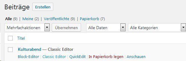Auswahl Classic-Editor-statt Gutenberg