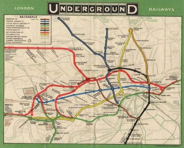 storia mappa metro londra