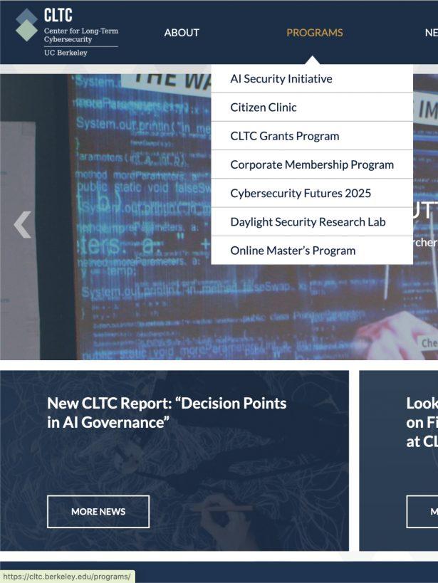Homepage with navigation