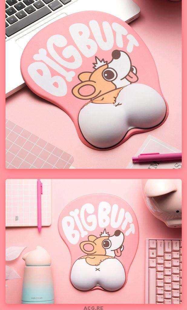 Pink Welsh Corgi Mouse Pad Corgi Pink Mouse Pad Cute Mouse Pad With Wrist Rest (2)