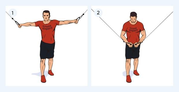 Сведение рук в кроссовере - техника выполнения