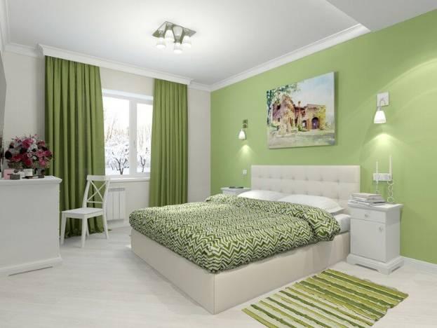 Шторы в зеленой спальне