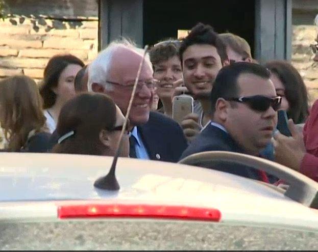 Bernie Sanders meets reporters at Vatican