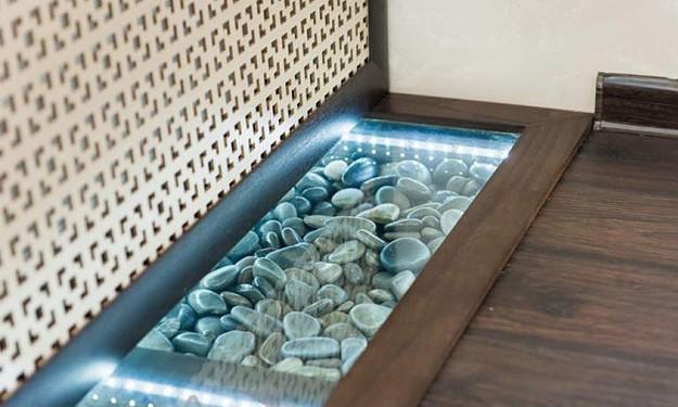 Пример изготовления декоративной ниши в полу под стеклом