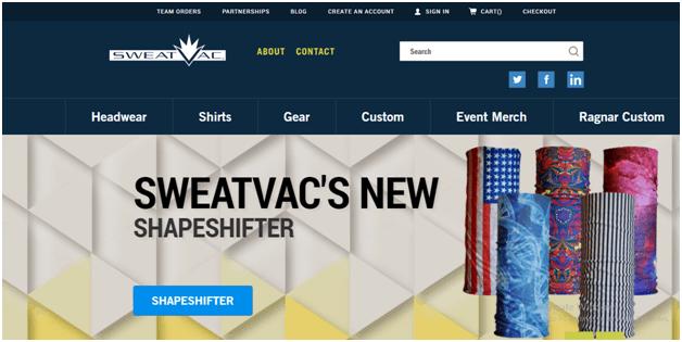 SweatVac Website Navigation
