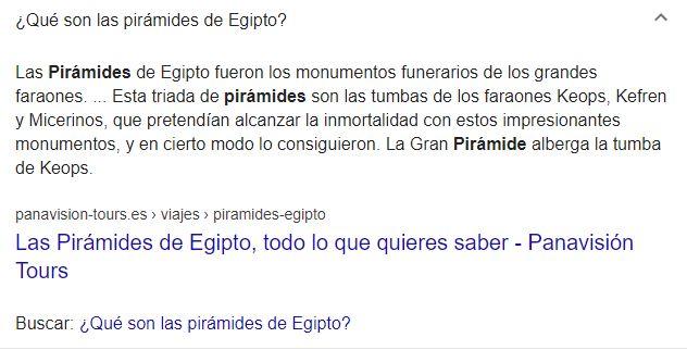 Pregunta y respuesta frecuente desplegada en Google