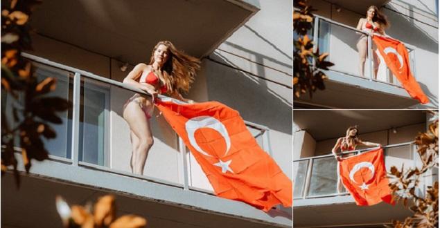 Amanda Balkonuna Türk Bayrağı Astı...