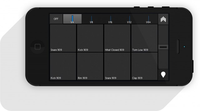 For drum playback, there's a drum pad layout, too.