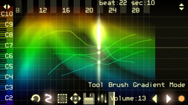 With curves and color, make amazing new sounds on desktop and mobile. Shades of MetaSynth? No, think the half-century-old Russian synth that did it first. Shown: ANS on iPhone.