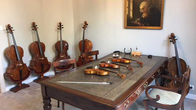 violin and cellos at Gert Schrijvers atelier