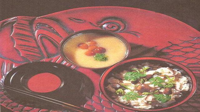 Riso con verdure selvatiche e funghi(sansai gohan)