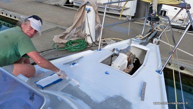Peinture antidérapante pont de voilier