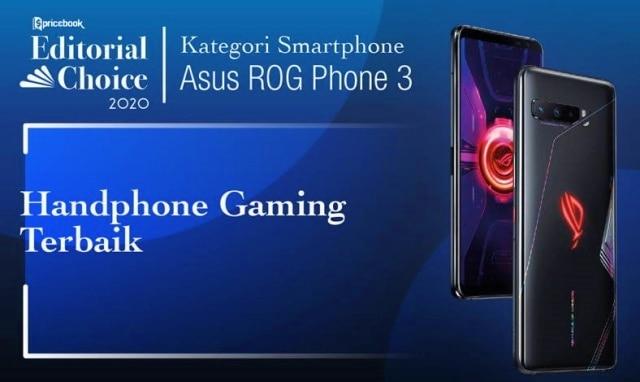Rekomendasi Pricebook kategori hp gaming terbaik adalah ASUS ROG Phone 3