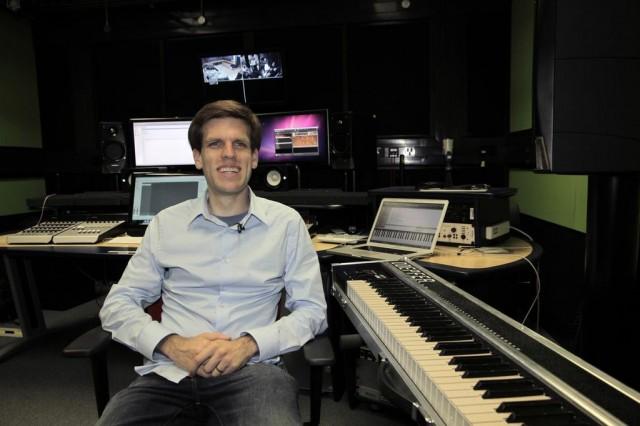 The inventor, in his studio: Andrew McPherson.