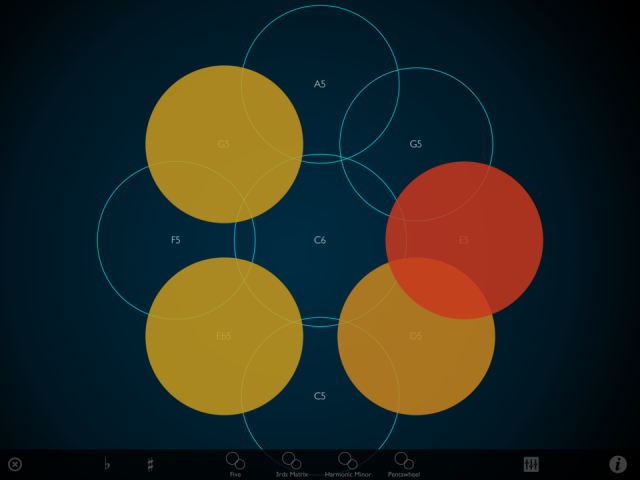 Layered, colored circles let you play single notes or polyphony.