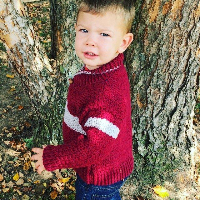 Free Crochet Pattern - Boys Shawl-Collared Sweater