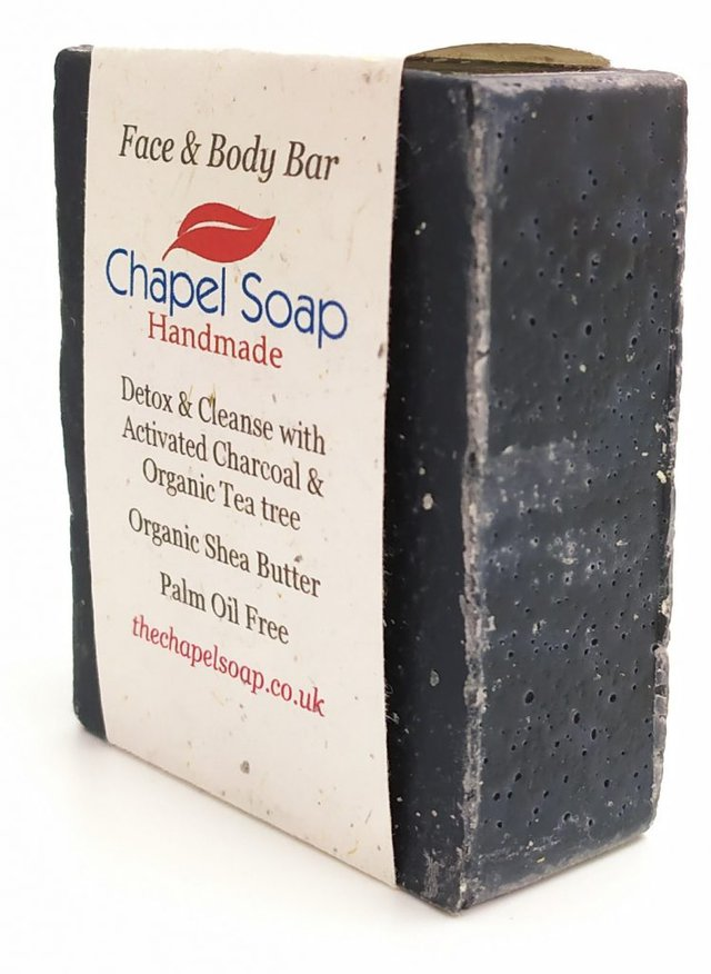 A Chapel Soap bar of Charcoal and Tea Tree soap displayed at an angle.