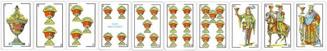 cartas baraja espanola palo copas