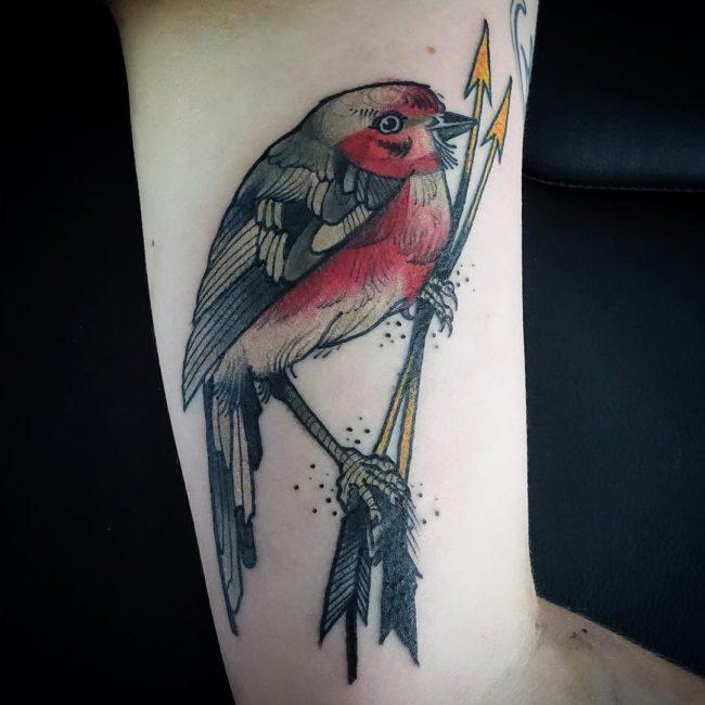 tatuaje de pajaro para mujer en el brazo