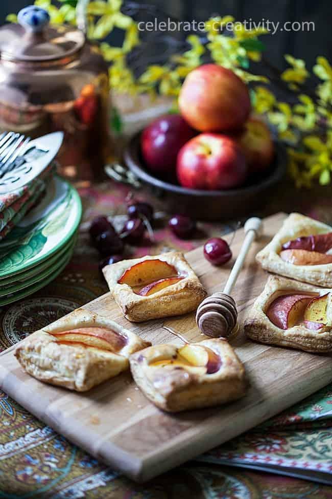 A cookbook photoshoot using nectarine and honey tarts photography styling tips