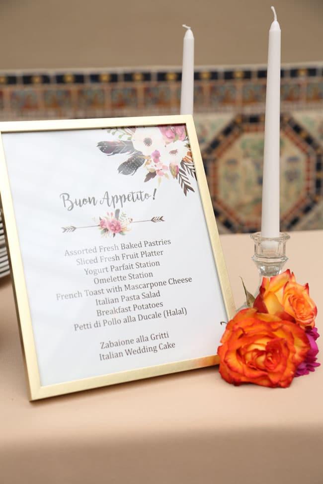 Chic Floral Themed Bridal Shower Brunch Menu