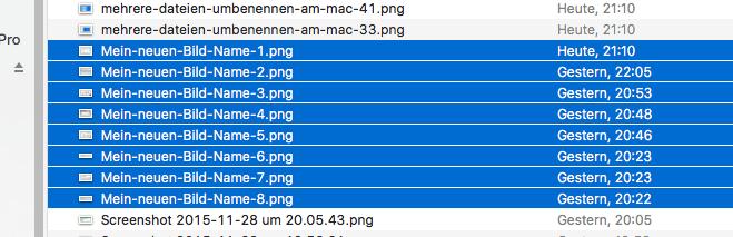Mit dem Automator kann man den gesamten Dateinamen ersetzen ohne ein RegEx matching benutzen zu müssen
