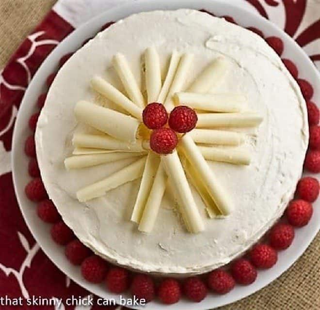 Overhead view of Vanilla Cake with White Chocolate Buttercream