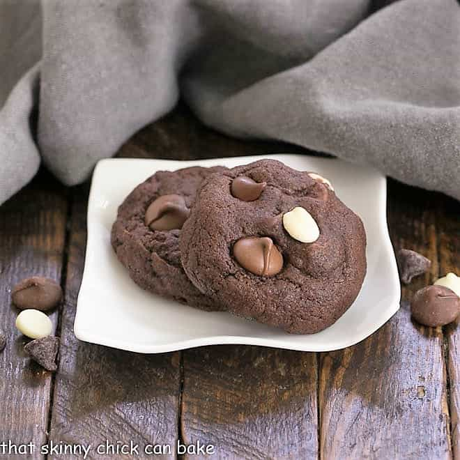 Quadruple Chocolate Cookies on a small, wavy, white plate