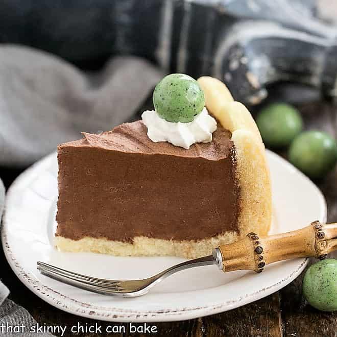 Irish Mousse Cake slice on a round white cake plate