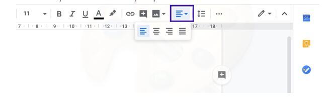 Выравнивание текста в документ гугл докс