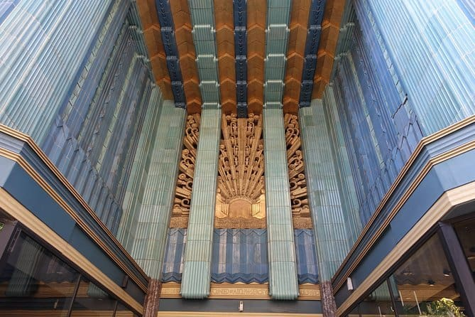 An art deco facade that you can encounter on an architecture tour of la.