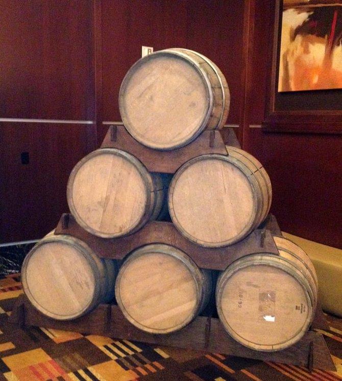 WhiskeyFest 2014 - Whiskey Barrels at the Golden Nugget Grand Ballroom, Las Vegas, NV.
