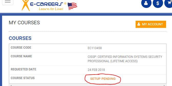 E-Careers Setup Pending Text