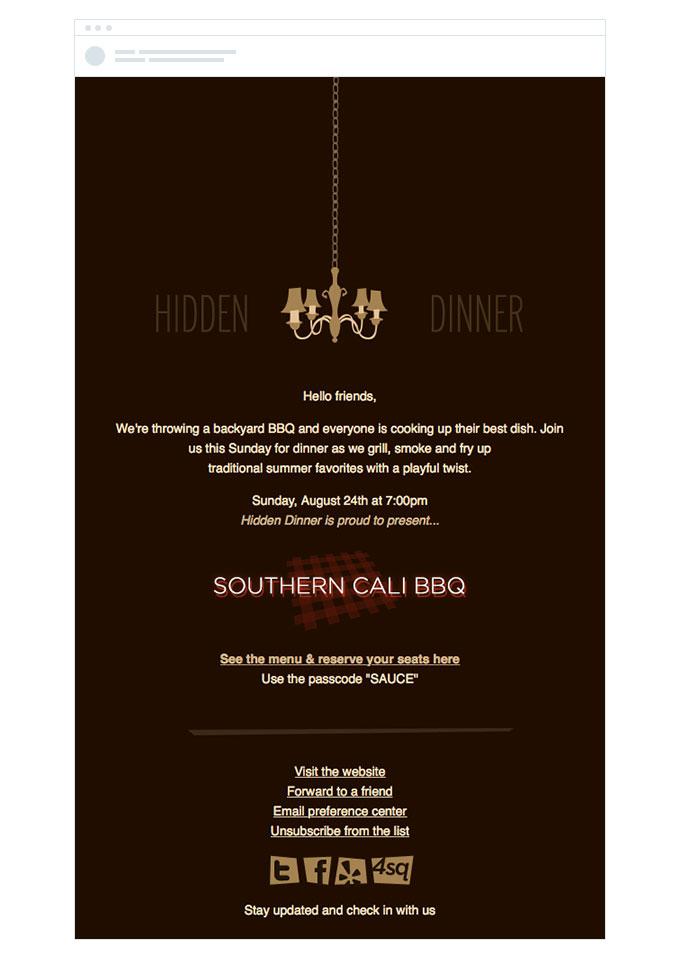 hidden dinner restaurant email invitation template