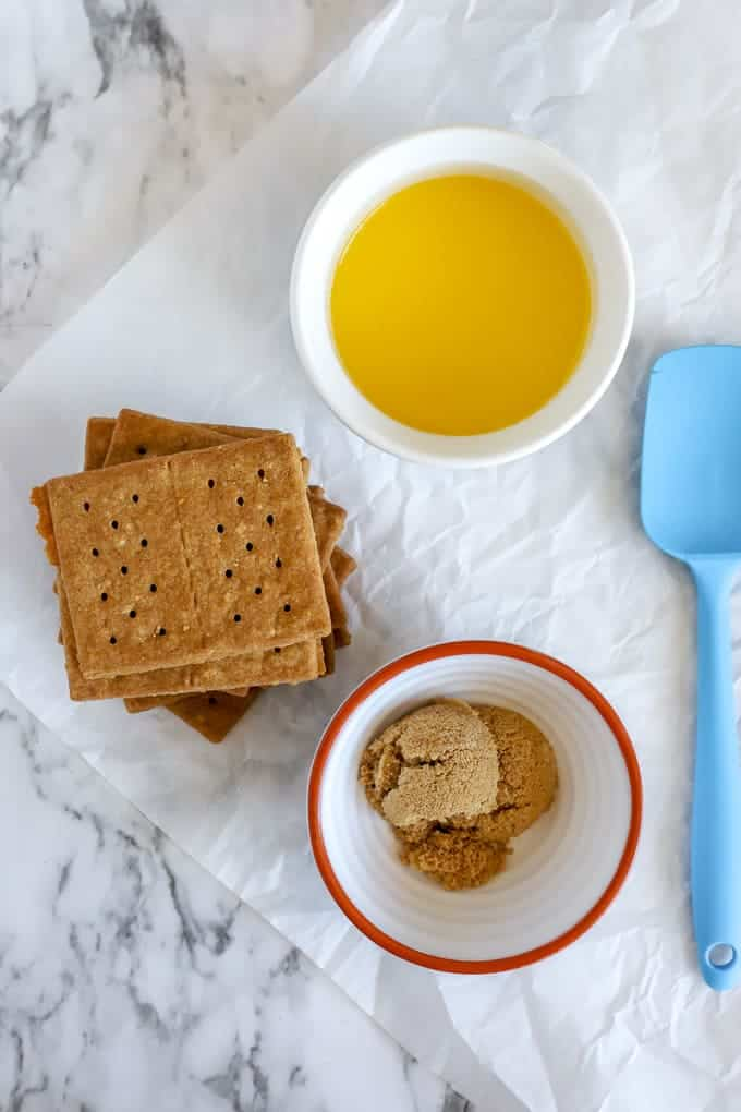 Gluten Free graham crackers, melted butter and brown sugar