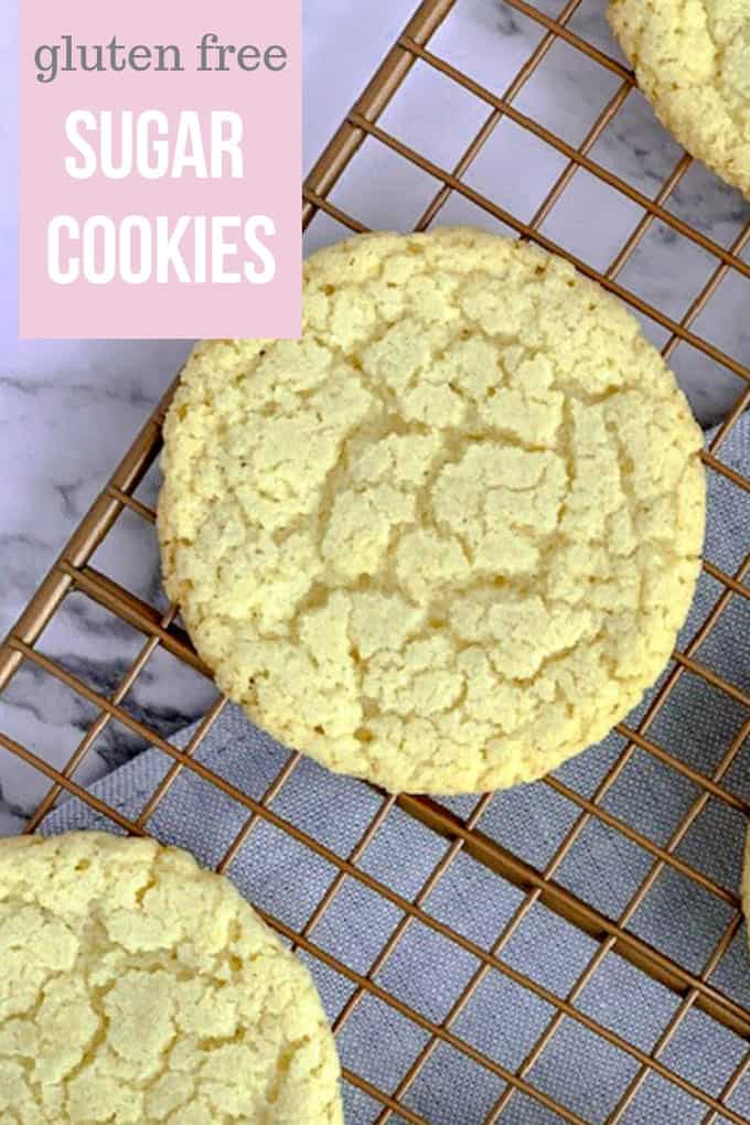 Pinterest photo of gluten free sugar cookies on gold cooling rack