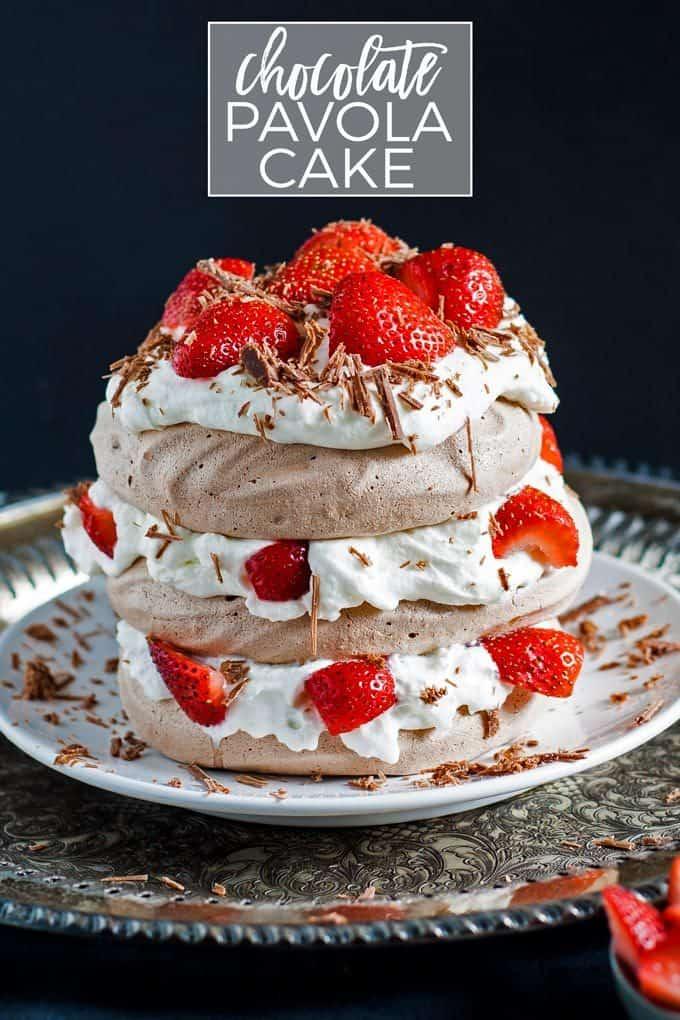 chocolate pavlova cake pinterest image