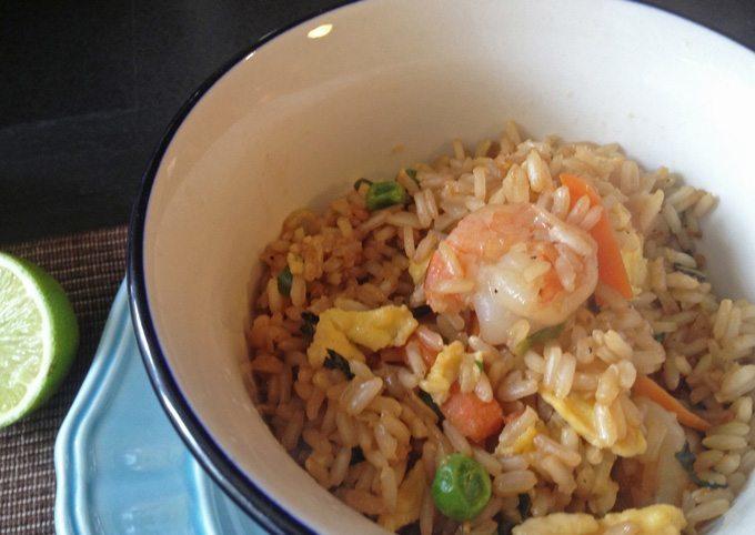 Shrimp Fried Rice with Sweet Soy Sauce | www.honeyandbirch.com #glutenfree